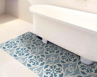 Floor Tile Decals SET Of 15 With Calm Blue Pattern, Floor Decal Vinyl  Stickers, Part 97