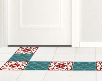 stickers tuile de plancher ensemble de 15 jacquard rouge vert autocollants en vinyle autocollant tage carreaux de carrelage de salle de bains - Stickers Tuile Vinyle Salle De Bain