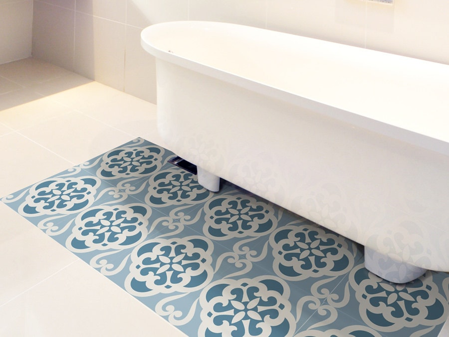 Floor tile decals set of 15 with calm blue pattern floor for Floor stickers