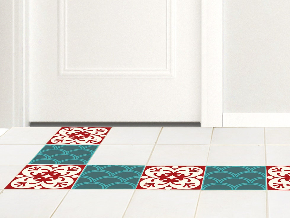 Floor Tile Decals SET Of 15 With Green Red Pattern Floor