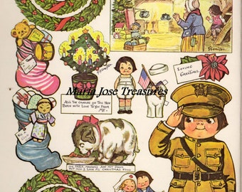 Dolly Dingle celebrates Christmas war-time style Paper Dolls - Digital Download
