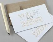 Du bist mein Sonnenschein Mini Karten - Geschenkkarte, Ermutigung Card, Typografie-Card, Mini-Note-Karte, Lunchbox Notes, gelb, blau, Kinder