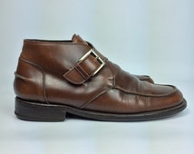 Size 10  - Mens Leather Dress Shoe Boots - Vintage Brown Ankle Boots - Euro 43