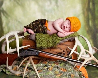 baby boy hunter hat and pants set crochet photo prop ready to ship