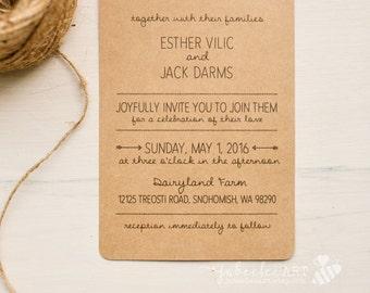 Whimsical kraft paper hand lettered wedding invitation printable PDF template