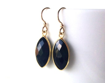 Black Onyx Gold Earrings,Black Marquis, Gold Filled Wires, Modern Black Onyx in Gold Frames