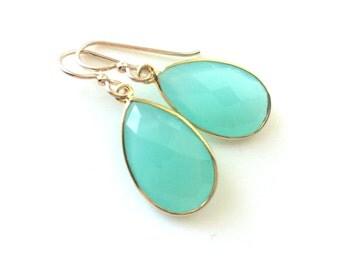 Aqua Mint Chalcedony Gold Earring, Aqua Mint Chalcedony Earring