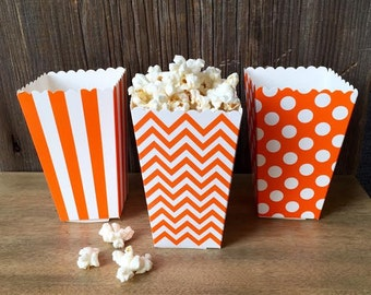 Orange Stripe, Chevron and Polka Dot Popcorn  Boxes, Treat Boxes, Birthday Party Supply, Halloween Party Good, Favor Box  - 36 Ct.