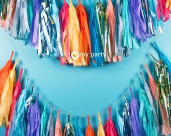 Make Your Own Tissue Tassel Garland