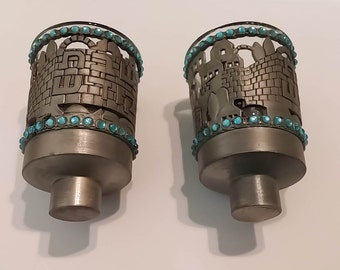 Pewter Shabbat Candlestick Holder and Oil Cup with Hebrew Text and Jerusalem