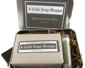 Soap Shoppe Tin - Bath Bar and Lip Balm / Thank you / Bridal  Shower/ Birthday /Just a little something