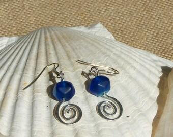 Blue, silver swirl earrings