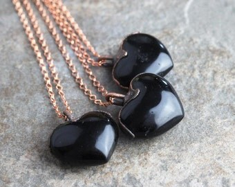 Black Obsidian Pendant Electroformed Copper Necklace Stone Heart Jewelry Black Heart Large Gemstone Rustic Romantic