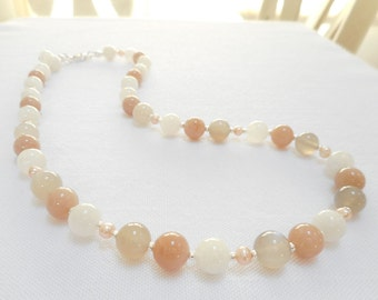 Peach Moonstone and Freshwater Pearl Necklace - Multi Color Peach, Gray and White Polished Stone Beaded Necklace - Genuine Gemstone Jewelry