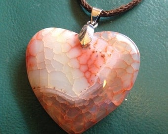 SALE: Strawberry Red Heart Agate Dragon Veins Necklace-Jewelry Sale Red Pendant Agate Necklace-Plum Agate Necklace Agate Pendant-Heart Agate