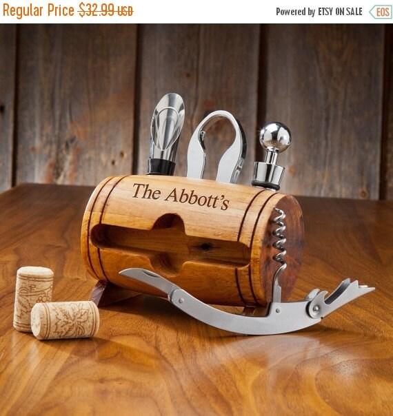 Personalized Wine Barrel Wine Accessory Kit - Personalized Wine Accessories (1123)