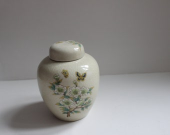 Old Japanese Porcelain Ginger Jar, Floral with butterfly