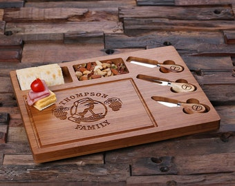 Set of 3 Personalized Bamboo Wood Cutting Bread Cheese Serving Tray Board with Tools (025209)