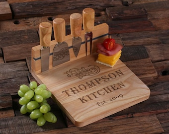Personalized Wood Cutting Bread Cheese Serving Tray Board with Tools (025210)