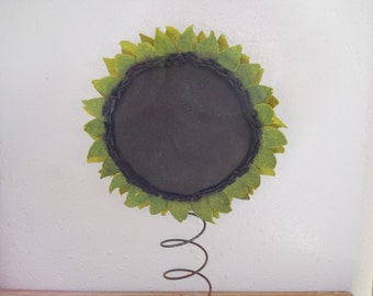 Upcycled Sunflower on a Rusty Bed Spring Primitive Sunflower Grungy Sunflower