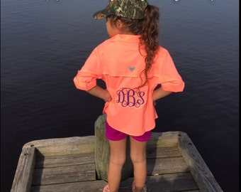Personalized Monogrammed Youth Little Girls Big Girls Columbia UPF 40 Fishing Shirt