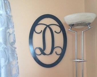 Unpainted Vine Script Letter- Initial Door Hanger- Wooden Monogram- Home Decor- Initial with Border