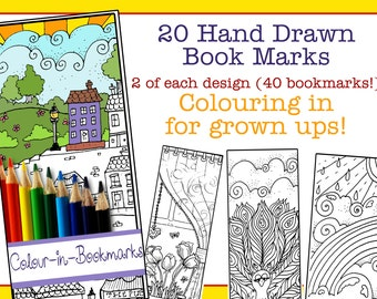 20 Mindfulness Colouring Pages for Grown ups - bookmarks eddition (40 bookmarks)