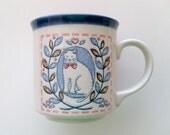 Otagiri of Japan Calico Embossed Cat Mug, 1980s cute kitsch