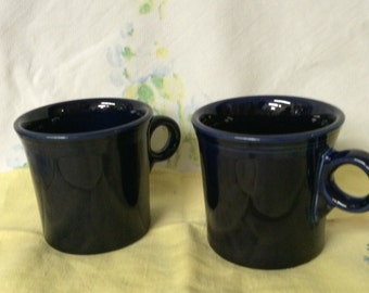 Fiesta Ware Cobalt Blue Handle Mugs  (2)  from 1980s or after 1973
