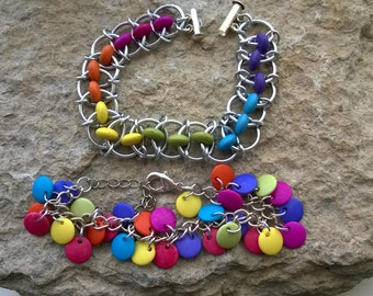 Tropical chainmaille bracelet, various colours and styles