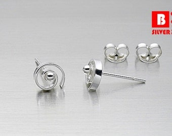 925 Sterling Silver Earrings, Round Earrings, Stud Earrings (Code : ED57)
