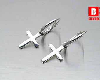 925 Sterling Silver Earrings, Hoop Earrings, Cross Hoop Earrings (Code : EY41)