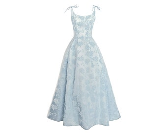 1950's Emma Domb Blue Flocked Daffodils Dress