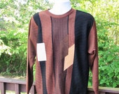 Mens Brown Sweater, Vintage Patterned Sweater, Italian Merino Wool Sweater with Leather Accents, 90's Mens Sweater, Mens Size Large