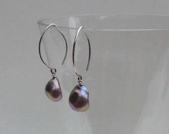 Gray Mauve Baroque Pearl Earrings