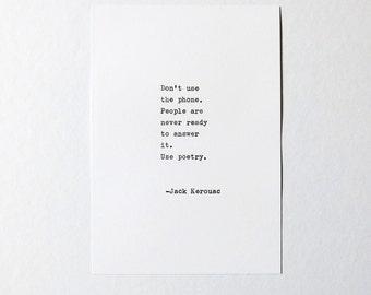 Favorite Quote Handtyped Card Kraft Envelope Custom Made