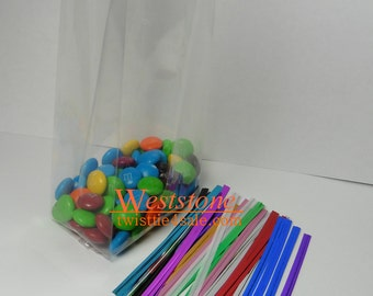 """100pcs 4 1/2"""" x 2 3/4"""" x 10 3/4""""-1.5mil Crystal Clear Gusseted Cello Bag"""