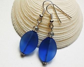 Light Sapphire Blue Sea Glass Earrings,Sea Glass Jewelry,Seaglass Earrings,Seaglass Jewelry,Beach Glass,Beach Glass Earrings,Beach.Free Ship