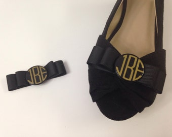 Monogrammed Black Bow Shoe Clips