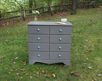 Driftwood Gray Dresser with Aqua Knobs