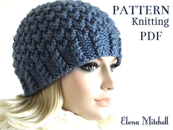 Knitted Beanie Patterns For Adults : Knitting Pattern Hat Knit Beanie Pattern Women Hat Pattern