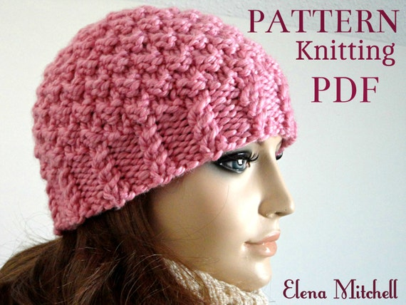 Instant Download Knitting Pattern Hat Knit Beanie Pattern Women Hat