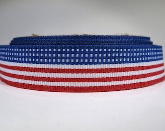 "5 yards of 7/8 inch ""USA flag"" grosgrain ribbon"