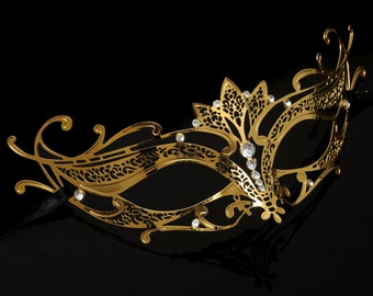 Masquerade Mask, Gold Masquerade Mask,  Masquerade Ball Mask, Mask w/ Exquisite Rhinestones,  [Clear Rhinestones]