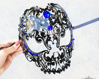 Black Skull Mask with Blue Rhinestones - Laser Cut Masquerade Mask - Exquisite Skull Head Masquerade Mask - Metal Mask by 4everstore