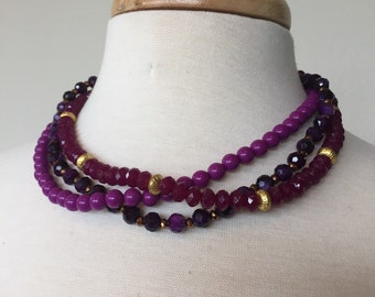 CLEARANCE Sale Faux ruby and amethyst bead necklace