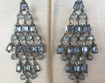 Sale Aqua rhinestones chandelier earrings
