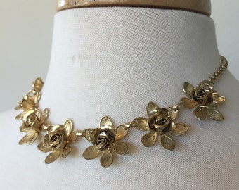 Sale Vintage Coro Flower Necklace and Earrings Set