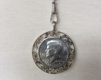 CLEARANCE SALE Vintage Bicentennial Kennedy Coin Necklace