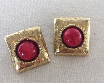 Sale Gold Red Stone clip on earrings
